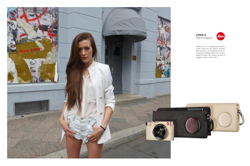 Dobbeltsidig annonse Leica Elle